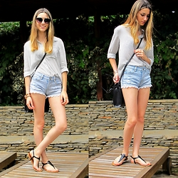 Celine S - Asos Lace Trim Shorts, Pull & Bear Blouse - Casual Days