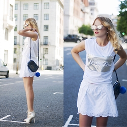 Monchanvre - Ivyrevel Tank Top, Zara Skirt, Aldo Sunglasses - Silver thoughts