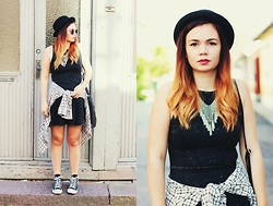 Amanda Runde - H&M Bowler Hat, H&M Grey Skater Dress, Thrifted Plaid Shrit, Black Converse - Four Letter Word