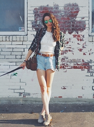 Lindsay W. - Free People Seamless Crop, Levi's® Vintage Cut Offs, Forever 21 Plaid Buttondown, Sam Edelman Booties, Madewell Leather Purse, Ray Ban Aviators - Dog Walking Chic