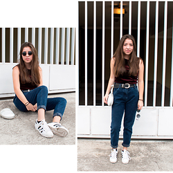 Andrea P - Pull & Bear Mom Jeans, Thrifted Velvet Shirt, Adidas Sneakers - Terrence