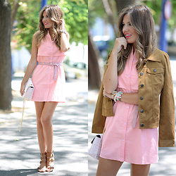 Helena Cueva - Persunmall Dress, Fashion Pills Jacket, The Desire Shop Handbag, Zara Sandals - Camel & Pink