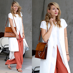 Leonie Hanne - Chloé Faye Bag, Asos Pants, Forever21 Waistcoat, Asos Long Top, Fringe Heels - White layers & Wide legs | ohhcouture.com