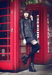 Lady Juliet - Karen Millen Biker Jacket, Jeffrey Campbell Ballistic Platforms, Asos Knee High Stockings - Call Me