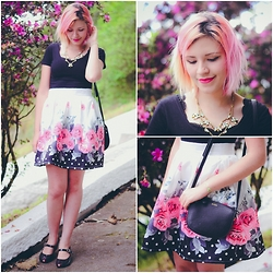 Jess Vieira - Shein Skirt, Choies Top - Mix de estampas: Flores e poás
