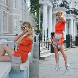 Monchanvre - Topshop Dress, Daniel Wellington Watch, Zara Bag, Aldo Sunglasses - Orange salsa
