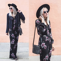 Bryn Newman (Stone Fox Style) - Charlotte Russe Lace Up Abstract Floral Jumpsuit, Azalea Fringe Jacket, French Connection Uk Studded Bag - On The Fringe