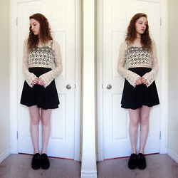 Raquel Teichroeb - Rebellion Lace Top, Circle Skirt, Creepers, Yin Yang Choker Necklace - All The Leaves Are Gone