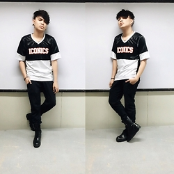 Rex Dela Cruz - Iconics Football Top, Valentino Black Leather Boots, Penshoppe Black Jogger Pants - ICONICS