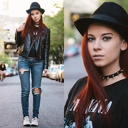 Ashley Laderer - Spiked Collar, Vintage Nirvana Band Tee, Hollister Jeans, Converse Chuck Taylors, H&M Leather Jacket, Forever21 Fedora - The Uniform
