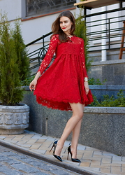 Elizaveta Buldenko - Blowfashion Dress, Christian Louboutin Heels - Red lace dress