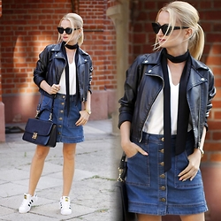 Daria Darenia - Asos Glasses, Kappahl Jacket, Vintage Skirt, Adidas Shoes, Barada Bag - Denim Skirt