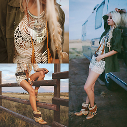 Sarah Loven - Le Salty The Label Lace Dress, Gypsy River Army Jacket, Wild & Free Boots, Love Strength Belt, Free People Black Bra, Sparkles & Pop Silver Statement Necklace, Feather Junkie Leather Necklace - On Our Way to Somewhere