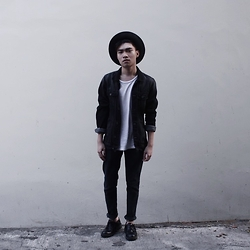 Louis Edward - Dr. Martens Shoes, Pull & Bear Black Denim Jacket, Zara Hat - Vibes