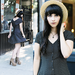 Camila C - Forever 21 Boater Hat, Crossroads Trading Polka Dot Dress, Jeffrey Campbell Lita Boots - Free At Dawn