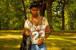 Tyric Davon'e - Lifejustified Dashiki, Urban Outfitters Leather Vest - D u s ty.