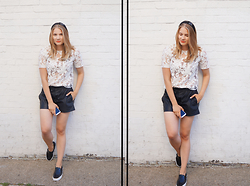 IIDA H - Reiss Top, Zara Leather Shorts, Vans Classic Slip On - Sheer White