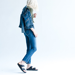 Rima Vaidila - Ag Jeans Denim Jacket, Ag Jeans Straight Leg, Birkenstock Leather Birkenstocks - Ac for ag