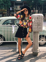 Gizele Oliveira - Urban Outfitters Skirt, Urban Outfitters Sandals, Rat And Boa Dress, Miu Sunglasses, Brixton Hat - NY summer