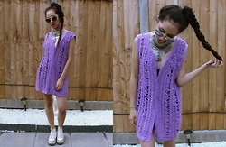 Diane Landers - Sunglasses, Necklace, Thrifted Crochet Dress/Top, Urban Outfitters White Platform Sneakers - Summer #4