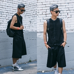 Tommy Lei - G Star Raw Sleeveless Top, Acne Studios Black Shorts - METALLIC