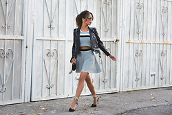 Jessi Malay - Zara Cropped Biker Jacket, Lucy Paris Polka Dot Crop Top, Lucy Paris Polka Dot Skater Skirt, Sante Gold Ankle Strap Pumps, Dior So Real Frames, Saint Laurent Monogramme Crossbody Bag - Back In Black + White | Lucy Paris