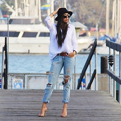 Samira Radmehr - Forever 21 Button Up, Urban Outfitters Hat, Topshop Leather Jacket, Carmar Jeans - Laid Back Look