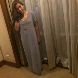Aizha Guevarra - Zalora Maxi Dress, Girl Shoppe Boho Necklace - Maxi + Grey