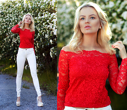 Elin Hansson - H&M Red Lace Top, Esprit White Denim, Shoes - MERCY