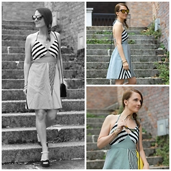 Margaret Dallospedale -  - Black White stripes Yellow dress