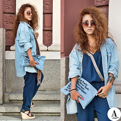 Diana Manolova - American Apparel Denim Clutch, Orsay Overalls/Jumpsuit, H&M Boyfriend's Denim Shirt, Pimkie Wedges - A Change Was What  She Needed