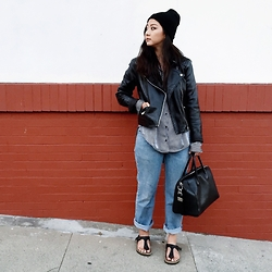 Tiffany Wang - Levi's® Jeans, Zara Shirt, Mango Leather Jacket, H&M Beanie, Birkenstock Sandals, Givenchy Bag - SAN FRANCISCO