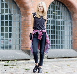 Ebba Zingmark - Lee Top, Lee Shirt, Lee Jeans, Henry Kole Boots, Monki Bag - RIGHT HERE
