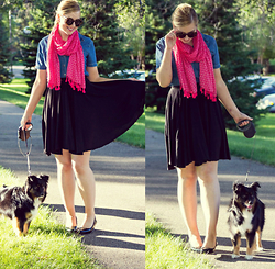 Rachel @Rachel's Lookbook - Charming Charlie Pink Tassel Scarf, Lee Chambray Top, H&M Black Skirt, Marshalls Wedges, Karen Walker Sunglasses - Happy National Dog Day!