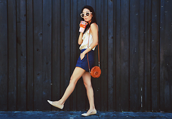 Eunice Kim - Zerouv Nude Round Sunglasses, Sole Society Nude Suede Pointy Toe Flats, From The Firenze Marketplace Leather Flower Pouch, Split Texture Romper - Hot As _____