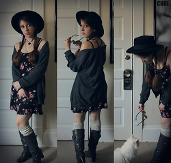 Lee Nicole - Hot Topic Skull Sweater, Nasty Gal Lindsay Boater Hat, Free People Round Robin Over The Knee Sock, Gap Amber Lens Circle Shades, Forever 21 Floral Dress - Happiness murmured in dreams
