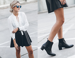 Mikuta - Zara Shirt, Asos Skirt, Zerouv Sunglasses, Henry Kole Boots - BLACK, WHITE & SOPHISTICATION