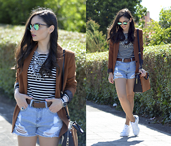 Alba . - Sheinside Top, Choies Shorts - Brown Blazer