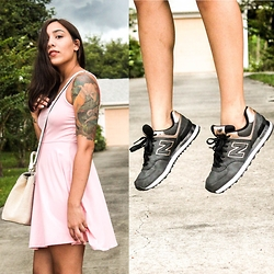Lisa Gonzalez - New Balance 574's, Forever 21 Dress, Kate Spade Purse - Dress & Sneaks