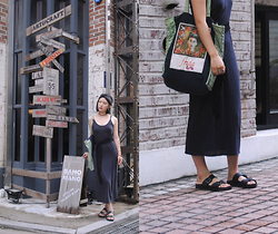 "Jessica Kim - A Land Hair Band, Maxi Dress, Frida Kahlo Bag, Hawkins Sandals - ""I never paint dreams or nightmares. I paint my own reality"""