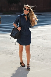 Cassandra DiMicco - Topshop Denim Shirtdress, Loeffler Randall Lace Up Flats - Denim Shirtdress