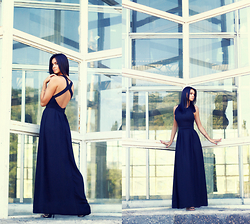 Anna Mour ♥ - Dresslink Black Long Chiffon Gown - Black ink