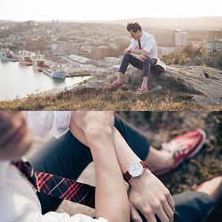Chris Nicholas - Daniel Wellington Dapper St Mawes Silver, Pocket Square Plothing The Rooselvelt, Levi's® 511, Rockport Deck Shoes, Arrow Tie Clip - 160