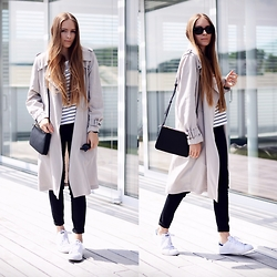 Anna R - Zara Coat, Mango Trio Bag, Adidas Sneaker - The Trenchcoat