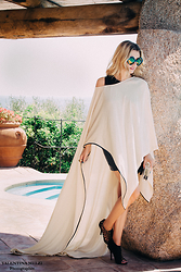 Elena Barolo - Cutler And Gross Sunnies, Asos Body, Nicholas K Cape, Nicholas K Mini Skirt, Balmain Sandals - Cream and licorice