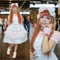 Anastassia Wonderland - Baby, The Stars Shine Bright Milk Chan And Snow Strawberry Sax Headdress, Angelic Pretty Pink Bow, Follow The White Rabbit Pink Wristcuffs, Chocomint Pink Crown Bracelet, Baby, The Stars Shine Bright Snow Dot Sugar Pink Blouse, Baby, The Stars Shine Bright Milk Chan And Snow Strawberry Sax Jsk, Bodyline Lace Socks, Secret Shop Pink Tea Party - Trough the looking glass
