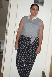 Selina M - Dorothy Perkins Striped Top, Select Floral Trousers - Once upon a September