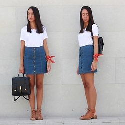 Esther L. - Zara White T Shirt, Lily Lulu Denim Skirt, Missguided Gladiator Tan Sandals, Jollychic Minimal Backpack - BUTTON FRONT DENIM SKIRT