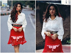 Surbhi Suri - Own Label Blouse, Labeltff Sheer Skirt, Choies Moschino Belt, Happiness Boutique Tassel Earrings - Sheer Reds
