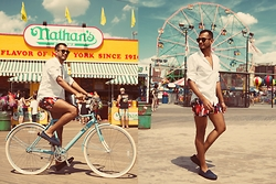 Jorge Gallegos - Ray Ban Sunglasses, Mr. Turk Chico Short, Zara Shirt, Swims Loafer, Sole Bicycles Bicycle - Coney Island Boy